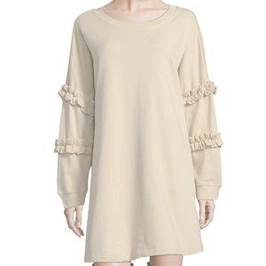 Solutions Swing Dress Ruffles NWT Size M Beige